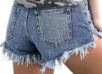 Vetinee Women's Mid Rise Frayed Raw Hem Ripped Destroyed Denim Shorts