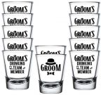 Shop4Ever Groom Fedora and Groom's Drinking Team Member Shot Glasses